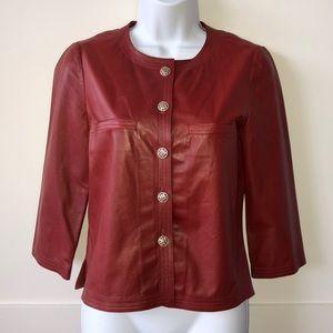 CHANEL Red/Orange 3/4 Sleeve Leather Jacket Sz 36